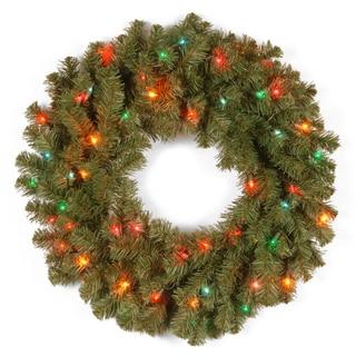 24-inch Kincaid Spruce Wreath with 50 Multi Lights