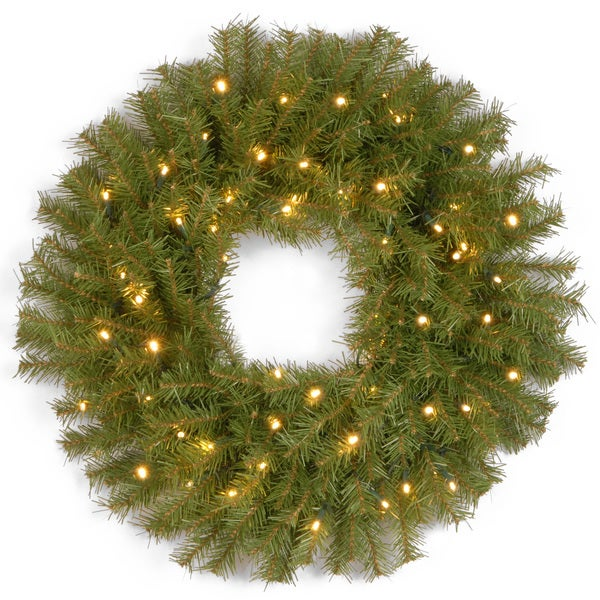 24 inch norwood fir wreath with 50 low voltage warm white led lights