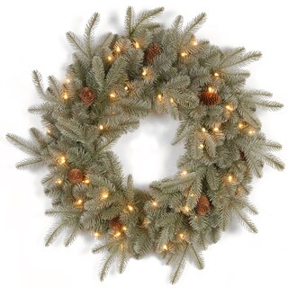 24-inch Feel-Real Frosted Arctic Spruce Wreath with Cones and 50 Clear Lights