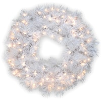 30-inch Wispy Willow Grande White Wreath with Silver Glitter and 100 Clear Lights