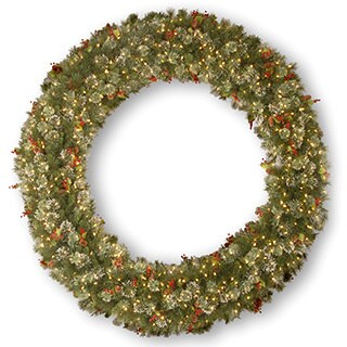 84-inch Wintry Pine Wreath with Cones, Red Berries and Snowflakes and 600 Clear Lights
