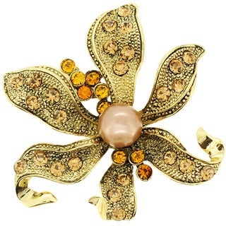 Brown Cubic Zirconia and Pearl Flower Brooch
