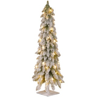 Link to 4-foot Snowy Christmas Tree with Flocking, Metal Plate and 100 Clear Lights Similar Items in Christmas Decorations