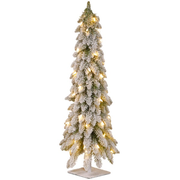 4-foot Snowy Christmas Tree with Flocking, Metal Plate and 100 Clear Lights. Opens flyout.