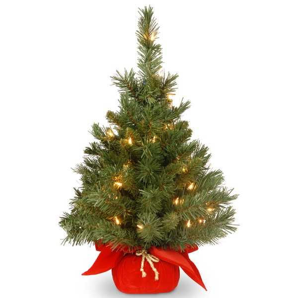 24-inch Majestic Fir Tree in Red Cloth Bag with 35 Clear Lights