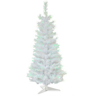 3-foot White Tinsel Wrapped Tree with Plastic Stand