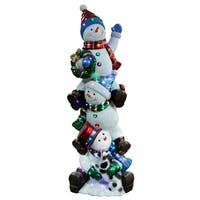 60-inch Stacking Snowmen with Metallic Painting Finish/ Multi LED Indoor/ Outdoor Use