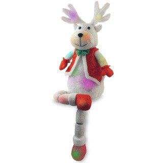 33-inch Cotton Red Sitting Deer with 18 Color Changing LED lights with Battery Box