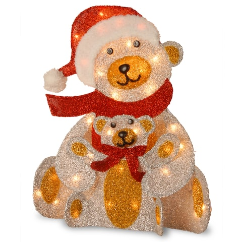 24-inch Silver Fabric Bear with 25 Clear Lights-UL