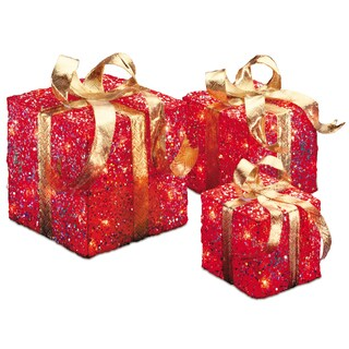 6-foot, 8-inch and 10-inch Assorted Red Sisal Gift Boxes with 20, 20 and 35 Clear Indoor/ Outdoor Lights