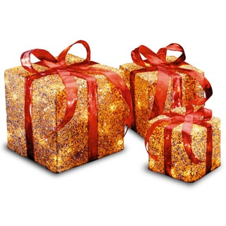 6-inch, 8-inch and 10-inch Assorted Gold Sisal Gift Boxes with 20, 20 and 35 Clear Indoor/ Outdoor Lights