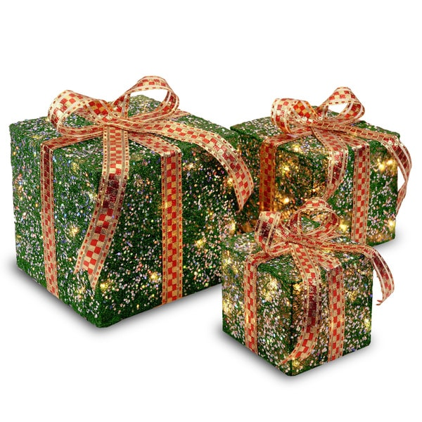 6-inch, 8-inch and 10-inch Assorted Green Sisal Gift Boxes with 20, 20 and 35 Clear Indoor/ Outdoor Lights. Opens flyout.