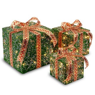 6-inch, 8-inch and 10-inch Assorted Green Sisal Gift Boxes with 20, 20 and 35 Clear Indoor/ Outdoor Lights