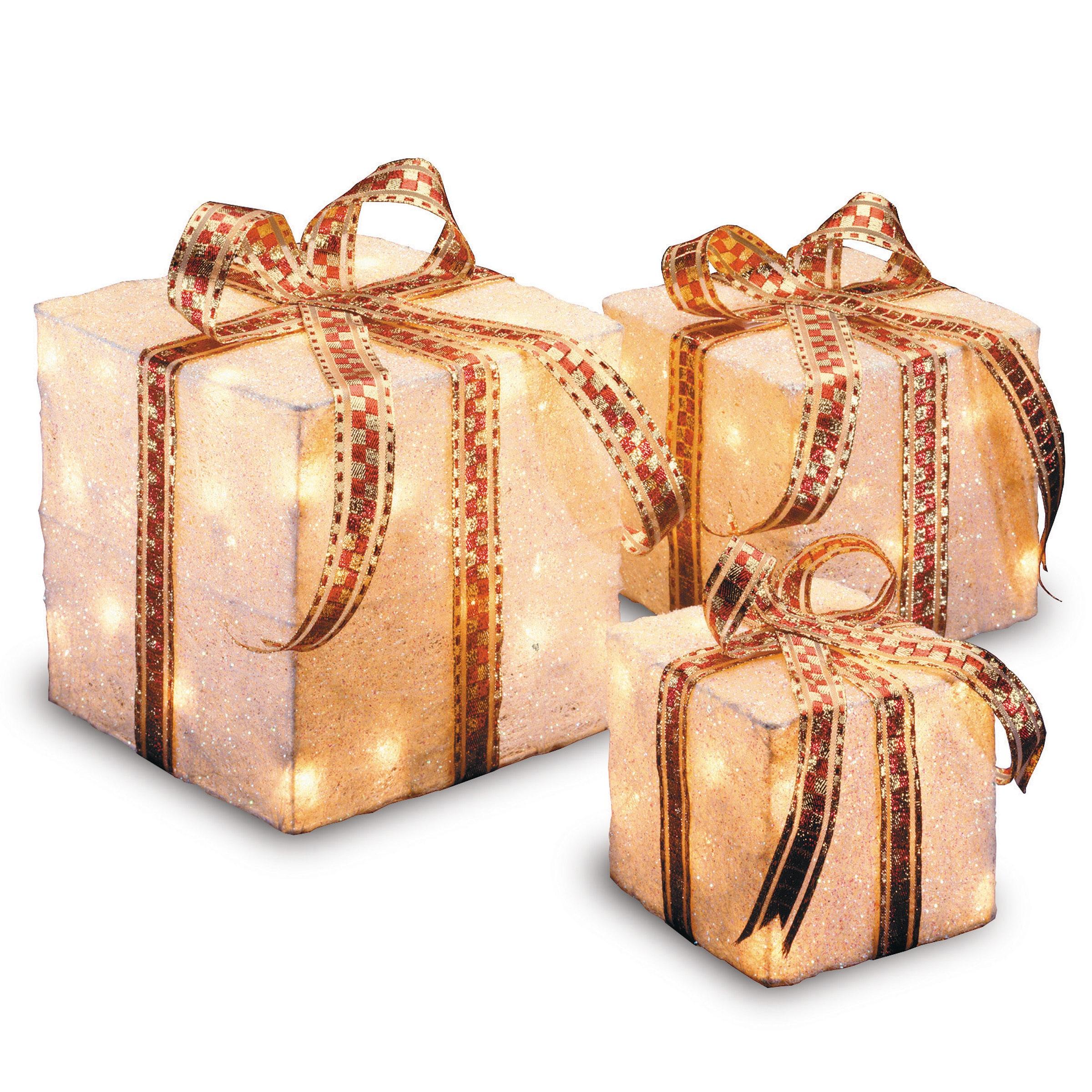 White Sisal Pre Lit Indoor Outdoor 3 Piece Decorative Gift Box Set On Sale Overstock 9603060