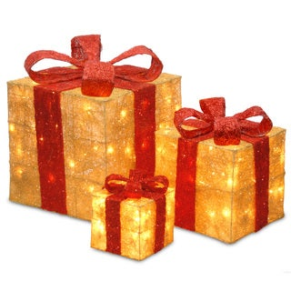 6-inch, 10-inch and 14-inch Assorted Gold Sisal Gift Boxes with 20, 20 and 35 Clear Lights