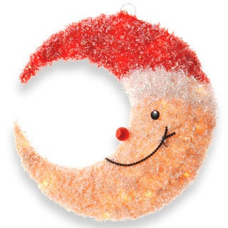 17-inch Smiling Yellow Moon with Red Hat and 20 Clear Indoor/ Outdoor Lights