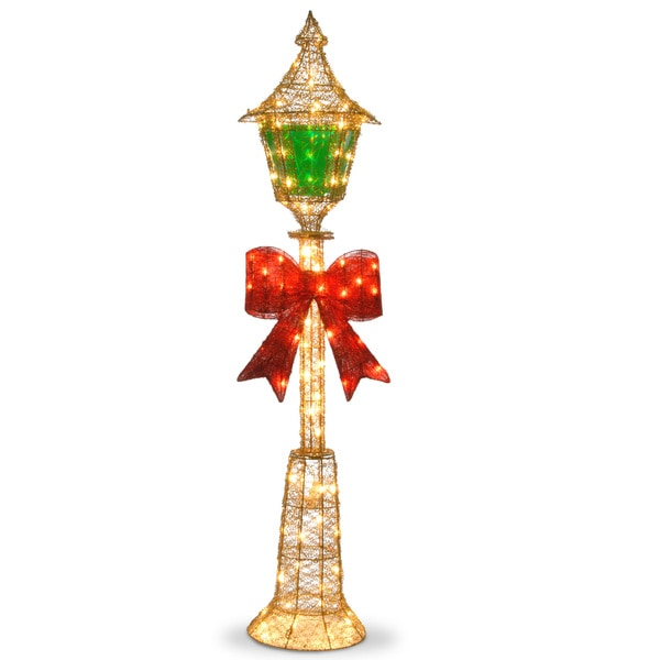 60-inch Gold Wire Lamp Post with Green PVC Film and Red Bow and 85 Clear Indoor/ Outdoor Lights. Opens flyout.