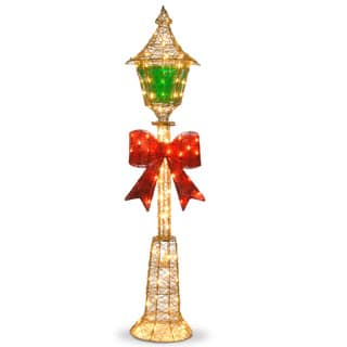 60-inch Gold Wire Lamp Post with Green PVC Film and Red Bow and 85 Clear Indoor/ Outdoor Lights|https://ak1.ostkcdn.com/images/products/9603065/P16789129.jpg?impolicy=medium