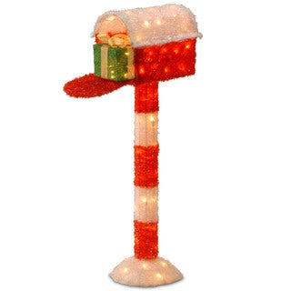 48-inch Red Tinsel Mailbox with Green Sisal Giftbox and 70 Clear Outdoor Lights