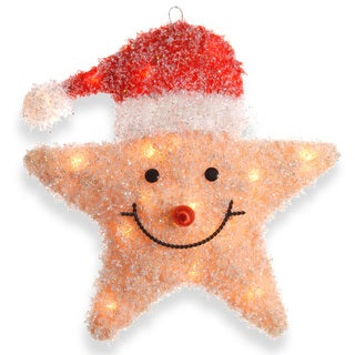 18-inch Smiling Yellow Star with Red Hat and 20 Clear Lights- UL-Indoor/ Outdoor