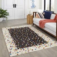 Momeni Boho Charcoal Confetti Hand-Woven Wool and Viscose Rug (8' x 10') - 8' x 10'