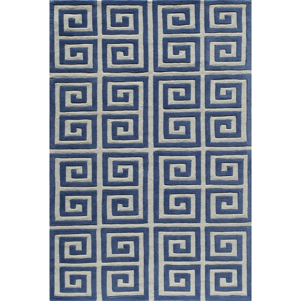 Greek Key Blue Hand Tufted Rug 8 X 10 Free Shipping