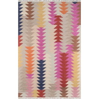 Tribal Elegance Hand-woven Multi Arrow Wool Rug (7'6 x 9'6)