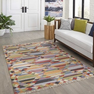 Tribal Elegance Hand-woven Multi Wool Abstract Rug (7'6 x 9'6)