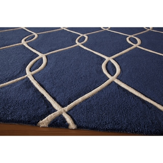 Interlocking Navy Hand-Tufted Rug (2'3 x 8')