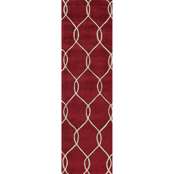 Interlocking Red Hand-Tufted Rug (2'3 x 8')