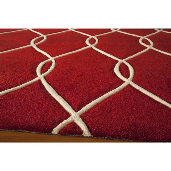 "Momeni Bliss Red Interlocking Hand-Tufted Runner Rug (2'3 X 8') - 2'3"" x 8'"
