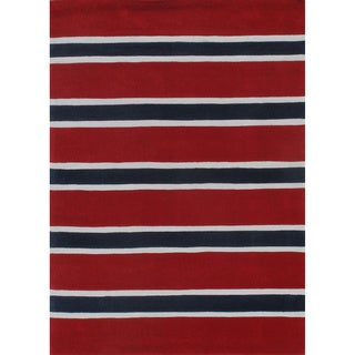 Rugby Stripe Red/Blue Hand-Tufted Rug - 5' x 7'