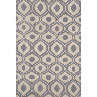 "Modern Waves Grey Hand-Tufted Rug (2'3"" x 8')"