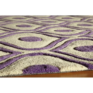 "Modern Waves Purple Hand-Tufted Rug (2'3"" x 8')"