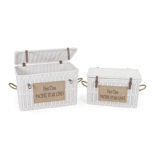 Decorative White Contemporary Rattan Trunk with Handles and Sign
