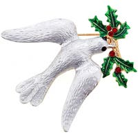Cubic Zirconia Christmas Mistletoe Dove Brooch