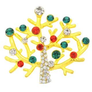 Cubic Zirconia Multi-color Christmas Tree Brooch