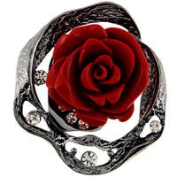 Cubic Zirconia Vintage Red Rose Pin Brooch