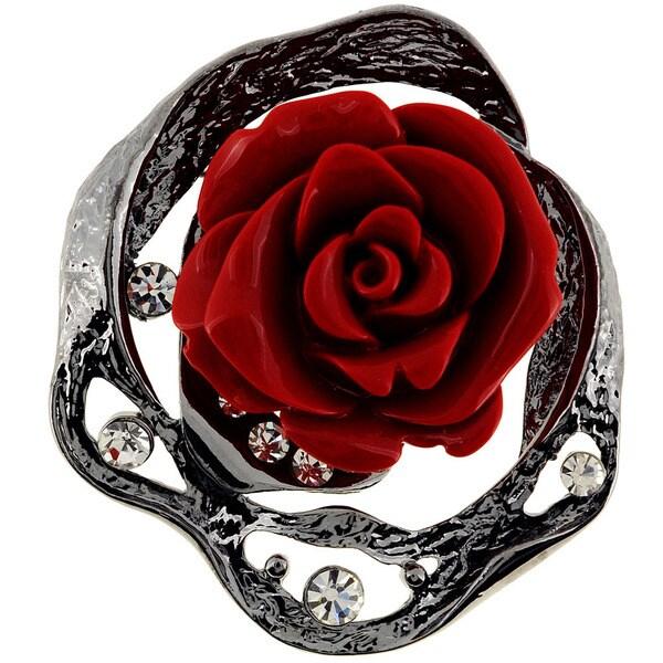 Cubic Zirconia Vintage Red Rose Pin Brooch