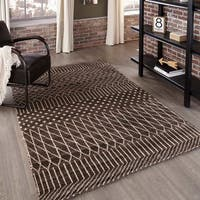 Momeni Atlas Brown Hand-Knotted Wool Area Rug (5' x 8') - 5' x 8'