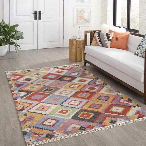 "Momeni Caravan Multicolor Hand-Woven Wool Reversible Rug - 5' x 7'6"""
