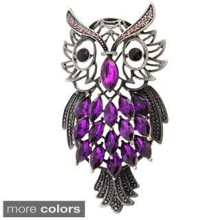 Cubic Zirconia Vintage-style Crystal Owl Brooch