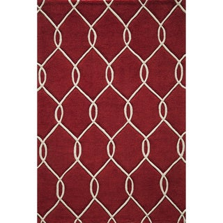 "Interlocking Red Hand-Tufted Rug (3'6"" x 5'6"")"