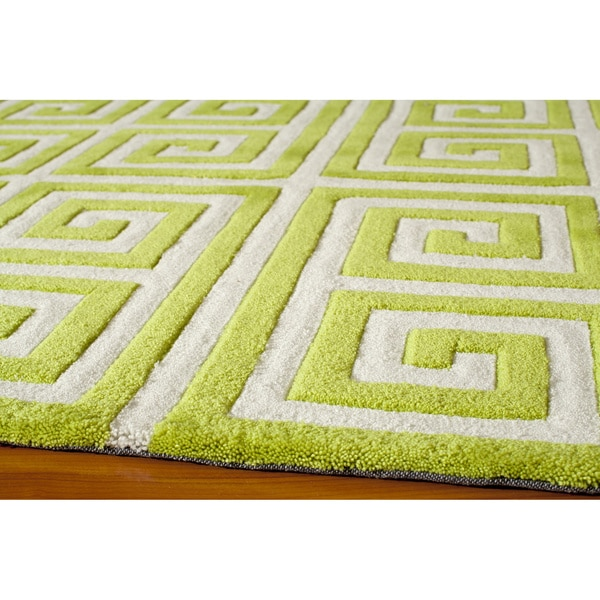 Shop Momeni Bliss Apple Green Greek Key Hand-Tufted Rug