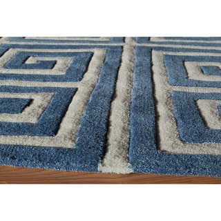 Greek Key Blue Hand-Tufted Rug (2' x 3')