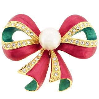 Christmas Pearl Bow Pin Brooch