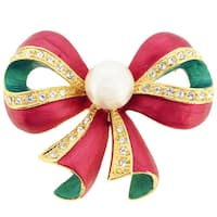 Christmas Pearl Bow Pin Brooch