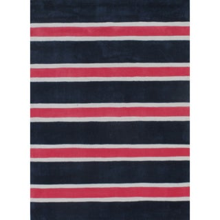 """Rugby Stripe Navy/Pink Hand-Tufted Rug (3'6"""" x 5'6"""")"""