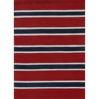 "Rugby Stripe Red/Blue Hand-Tufted Rug (3'6"" x 5'6"") - 3'6"" x 5'6"""