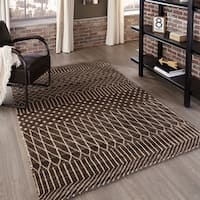 """Momeni Atlas Brown Hand-Knotted Wool Area Rug (3'6 x 5'6) - 3'6"""" x 5'6"""""""